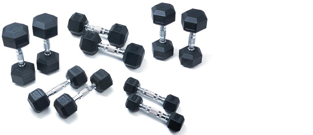 5 Piece JTX Hex Dumbbell Set: 2–10Kg
