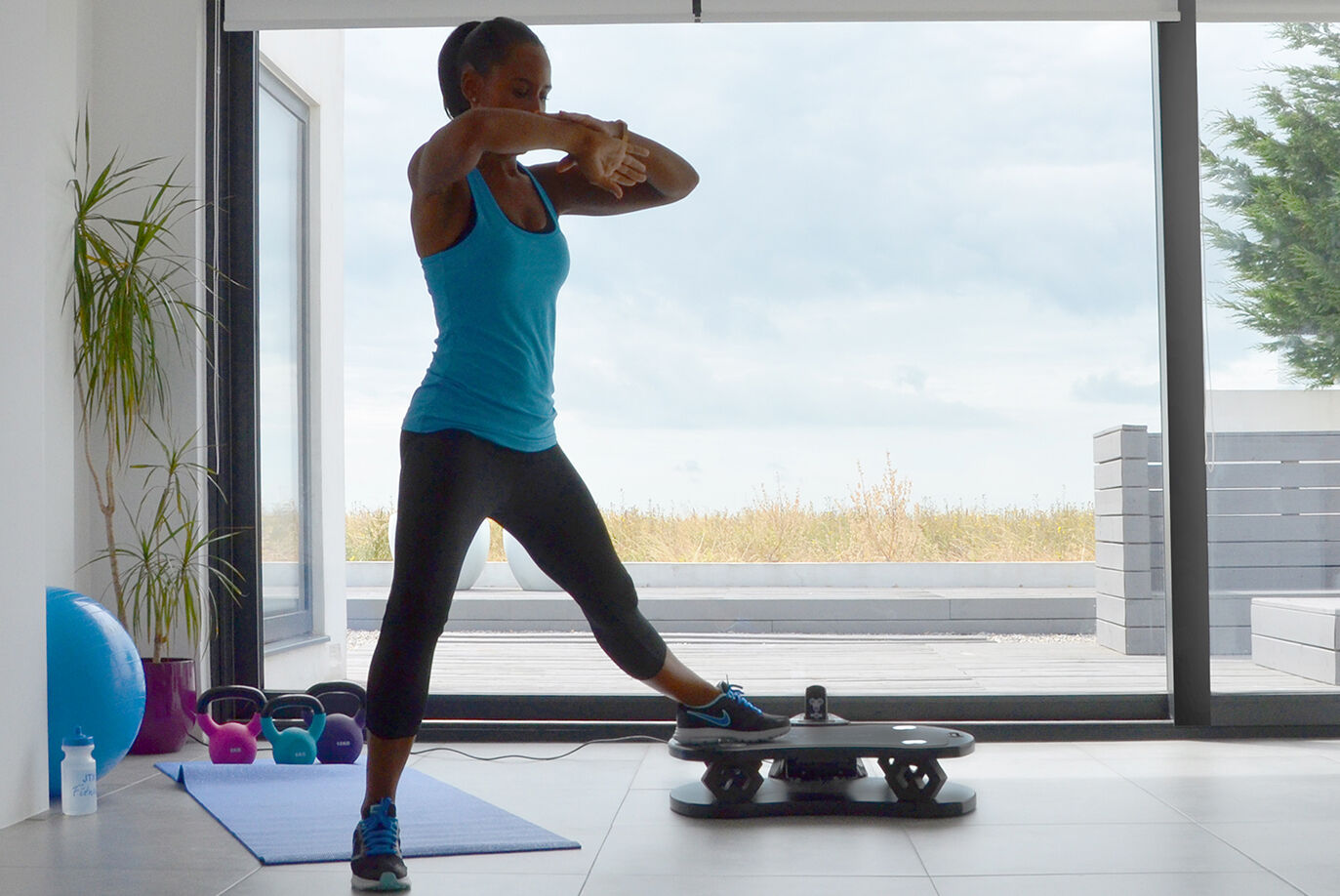 Toning legs using home vibration plate