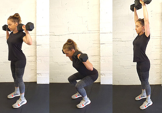 Dumbbell Workout - Squat into Push Press