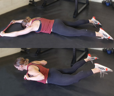 Power Band Workout - Lying Pull Downs